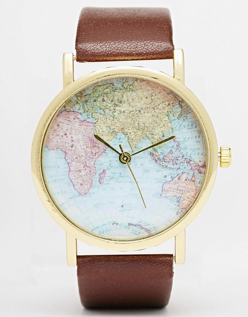 Reclaimed Vintage   Montre motif carte du monde | watches