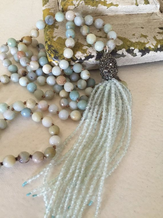 Gemstone hand knot pale blue unique accessory by MarleeLovesRoxy