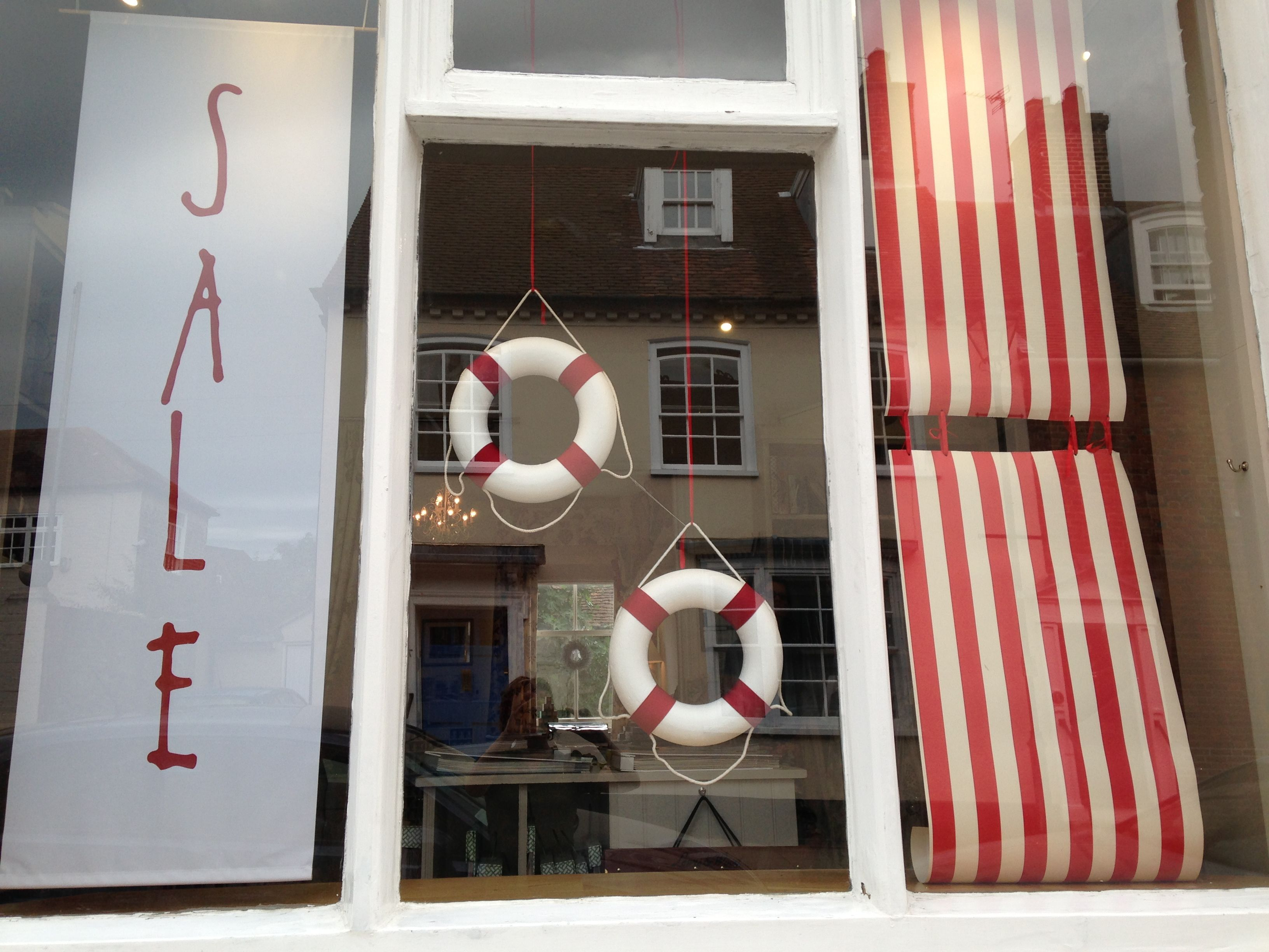 Window display ideas  sale window display with handmade life rings at sue foster interiors