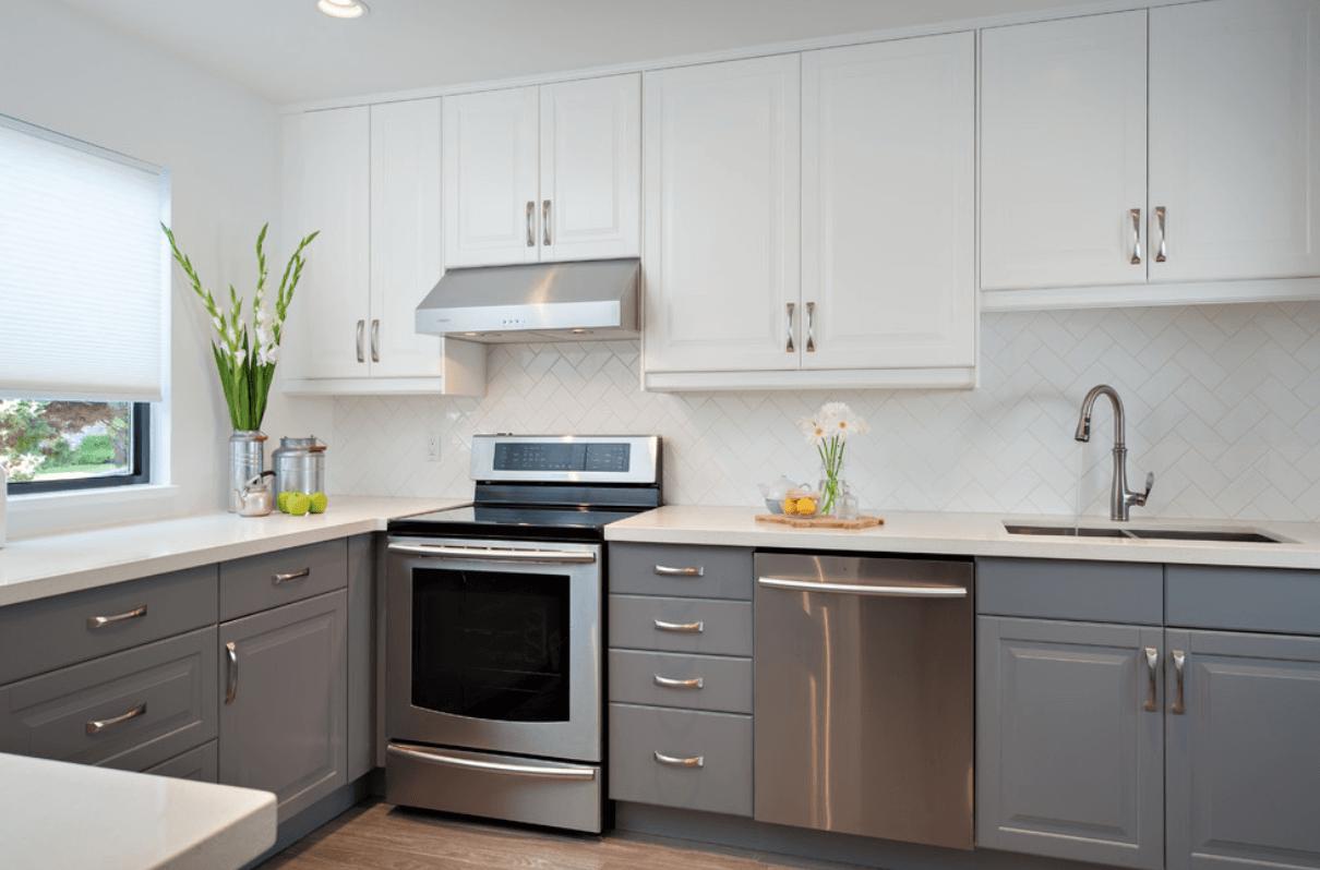 Painted Kitchen Ideas Серые кухонные шкафы