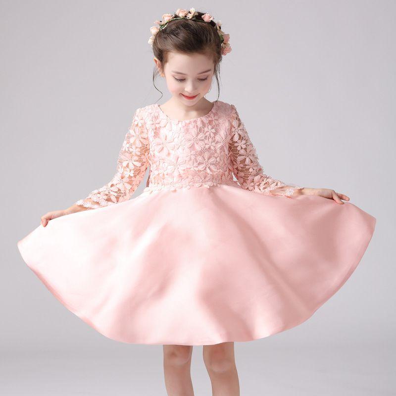 Pink Girls Lace Flower Wedding Dress Pink Dresses Long Sleeve ...