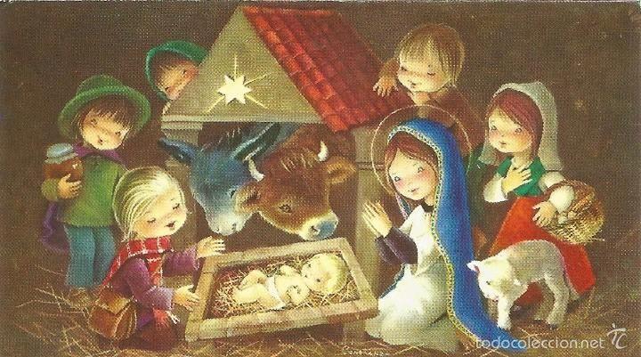 Ll12 bonita felicitacion de navidad ilustrada por - Postales de navidad bonitas ...