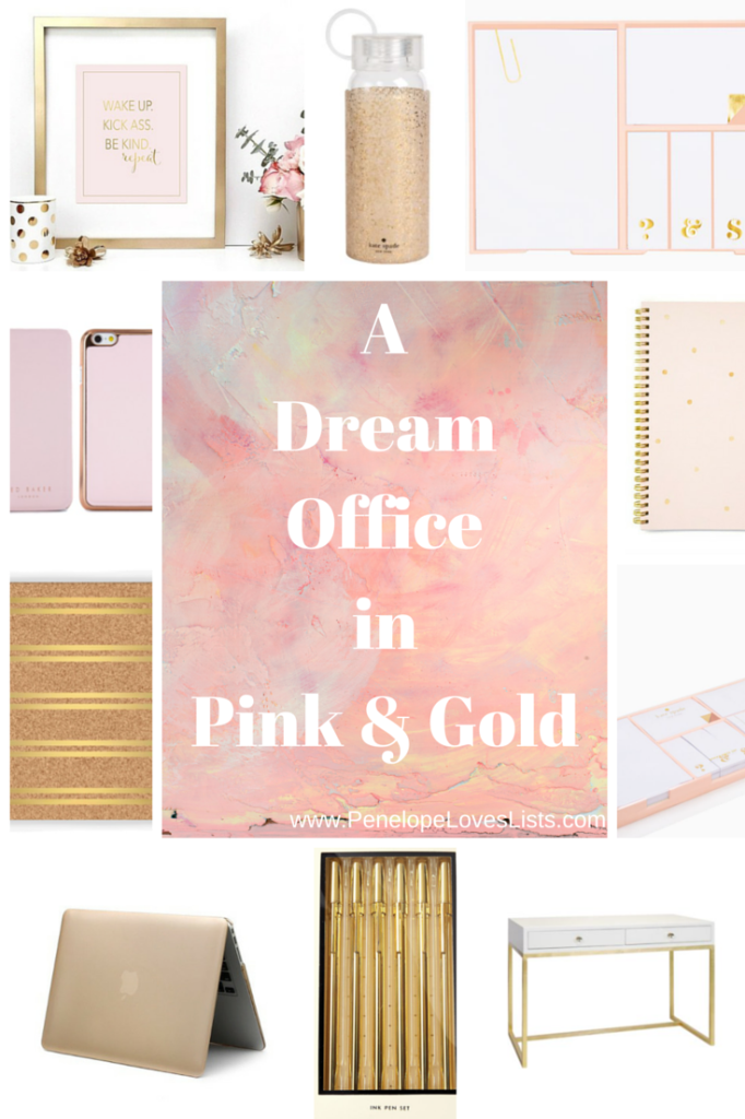 A Dream Office In Pink And Gold All The Pretty Rose Gold Office Supplies You Need Penelope Loves Lists Gold Office Supplies Gold Office Decor Pretty Office Supplies