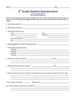 Grade 5 Questionnaire