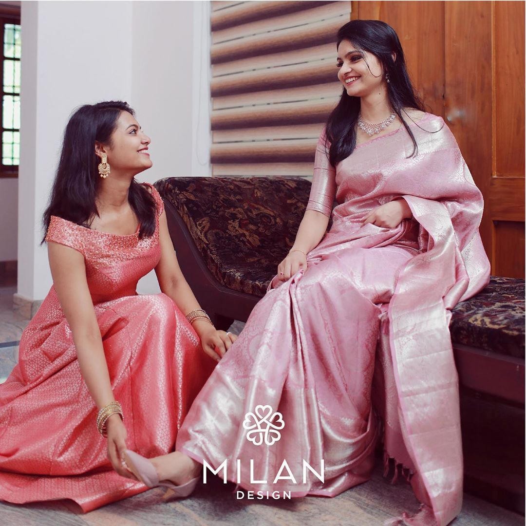 """Photo of Milan Design on Instagram: """"You can never go wrong with a little pink! Pastel Kanchipurams, a signature Milan saree that stands for its tradition, timeless beauty and…"""""""
