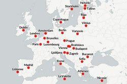 Toute l'Europe : Carte des capitales européennes | Tour d'Europe
