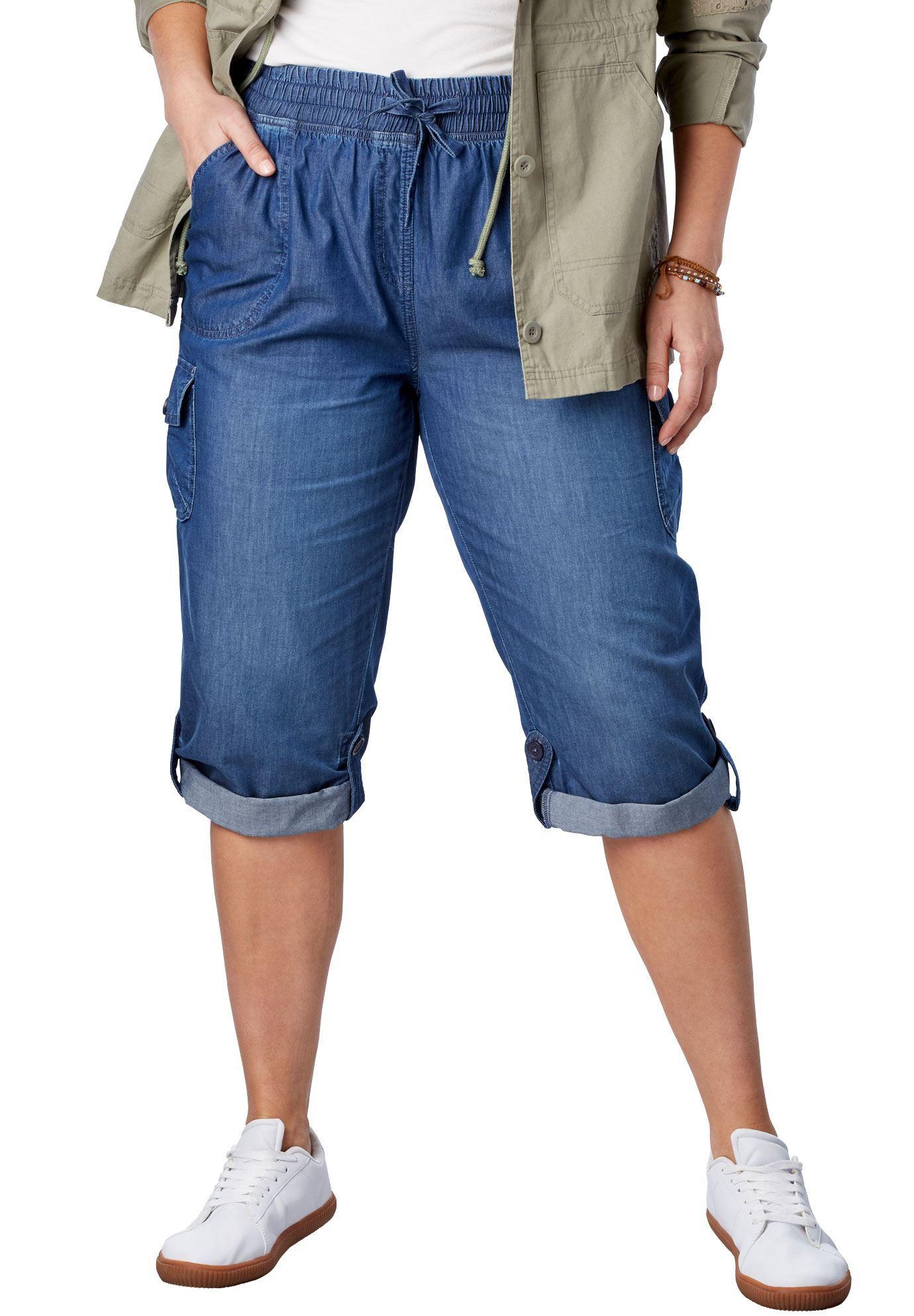 c6a474d9241f6 Convertible-Length Cotton Cargo Capri Pants - Women's Plus Size Clothing