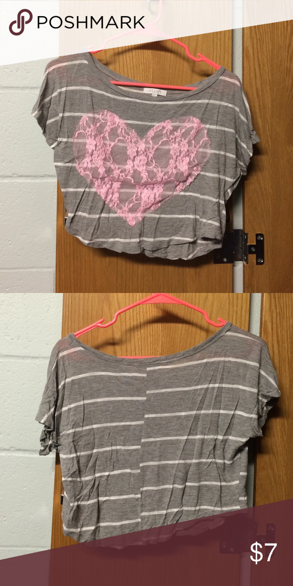Gray/white/pink crop top. Gray and white striped crop top with lace pink heart on the front. Delia's Tops Crop Tops