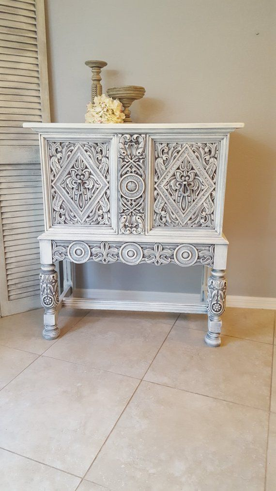 Sold Rare Ornate Antique Small Buffet Shabby Chic