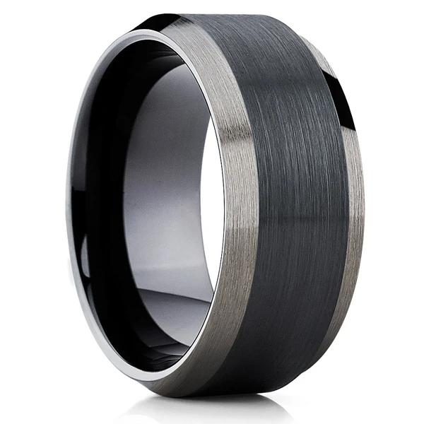 10mm Black Tungsten Wedding Band Men's Black Tungsten