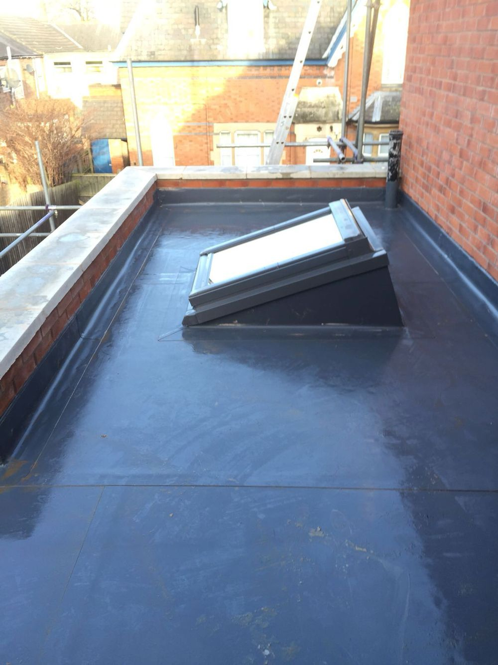Single Ply Roofing With Skylight On Pentecostal Church In