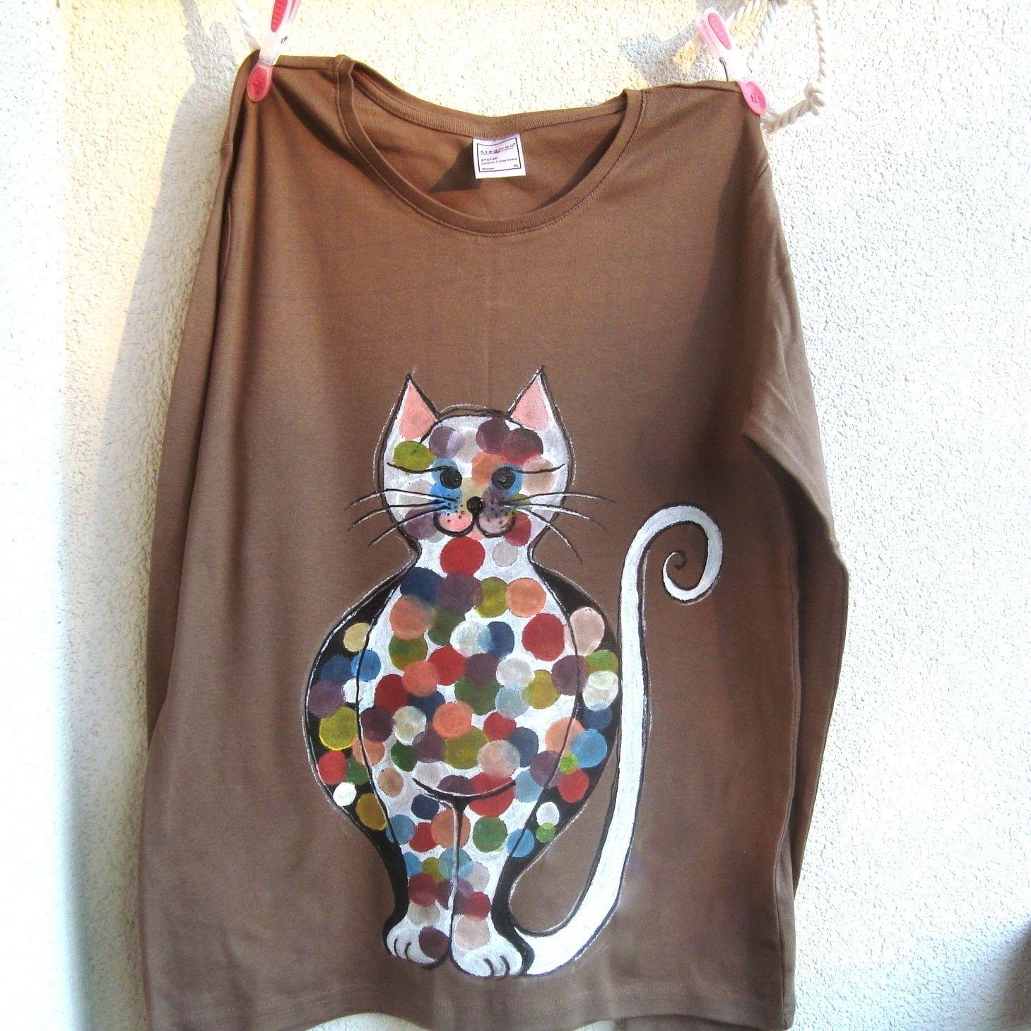 7e35ea284130 Malované+tričko+s+kočkou-když+mám+o+kolečko+víc...+Kvalitní+bavlněné ...