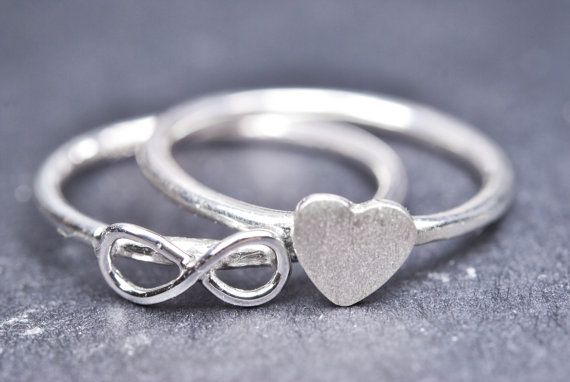 infinity ring sterling silver ring initial ring by JubileJewel, $30.00