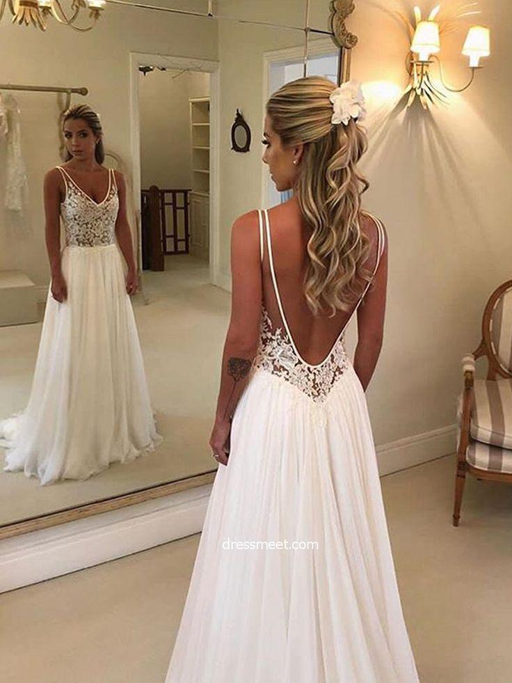 »Einfache A Line V-Ausschnitt Open Back White Lace Lange Brautkleider, Elegante Brautkleider WD1115002 – hochzeitskleid4.tk – Hochzeitskleid 2019