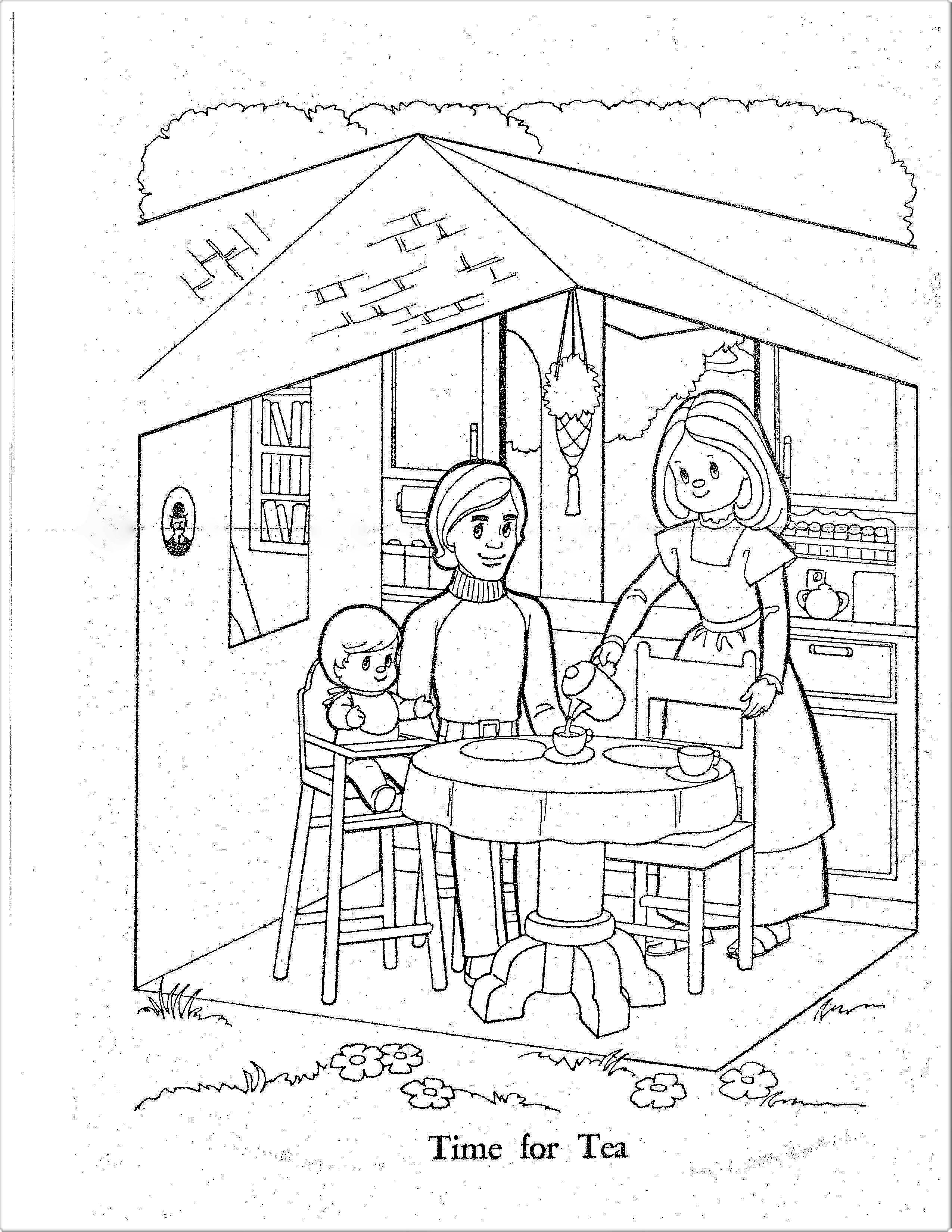 70s Sunshine Family Coloring Pages