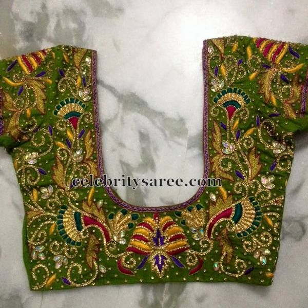 b8295ab2ea0e8 Parrot Green Blouse in Zardosi Work