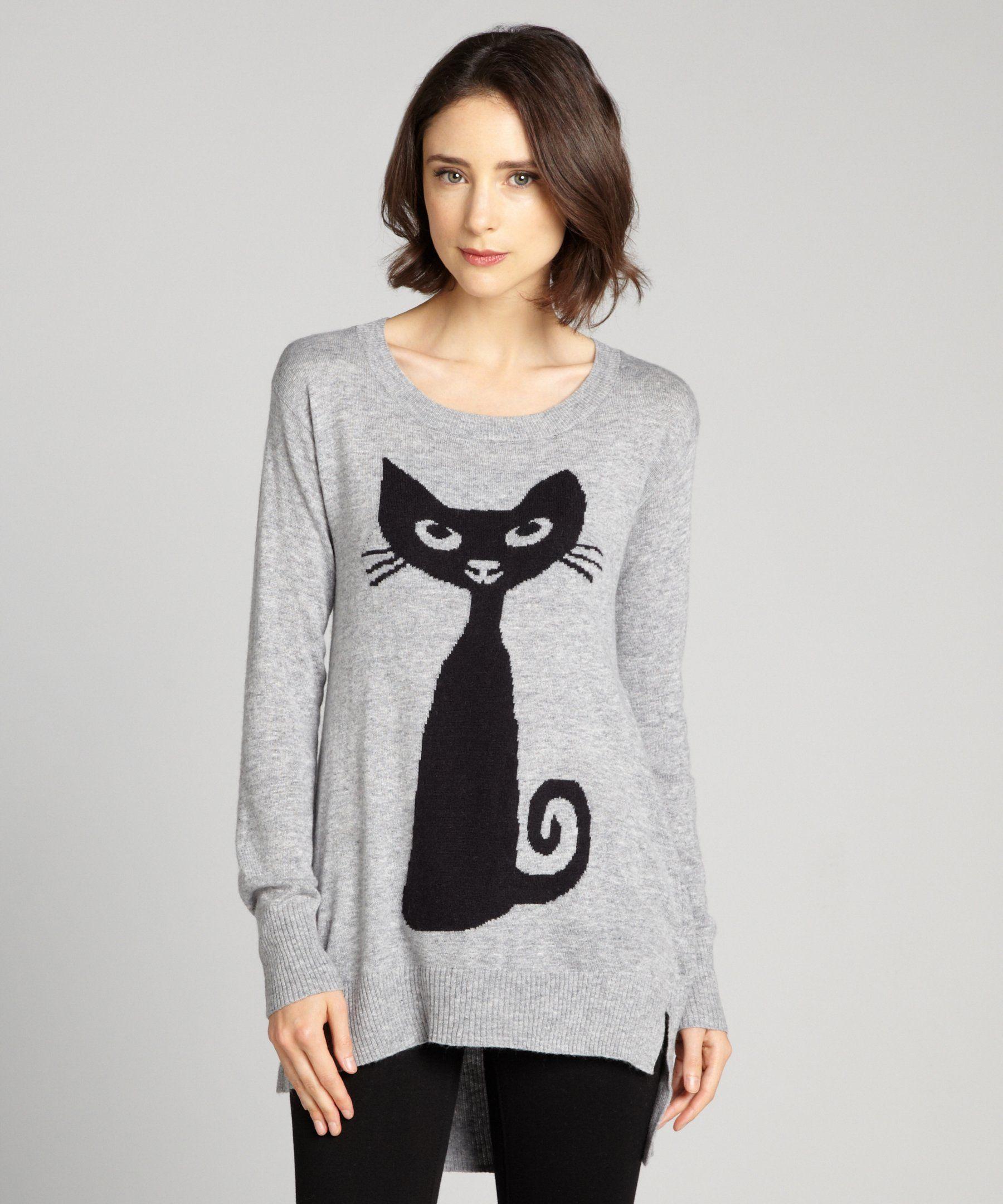 Cliche Grey Ribbed Cuff Cat Sweater