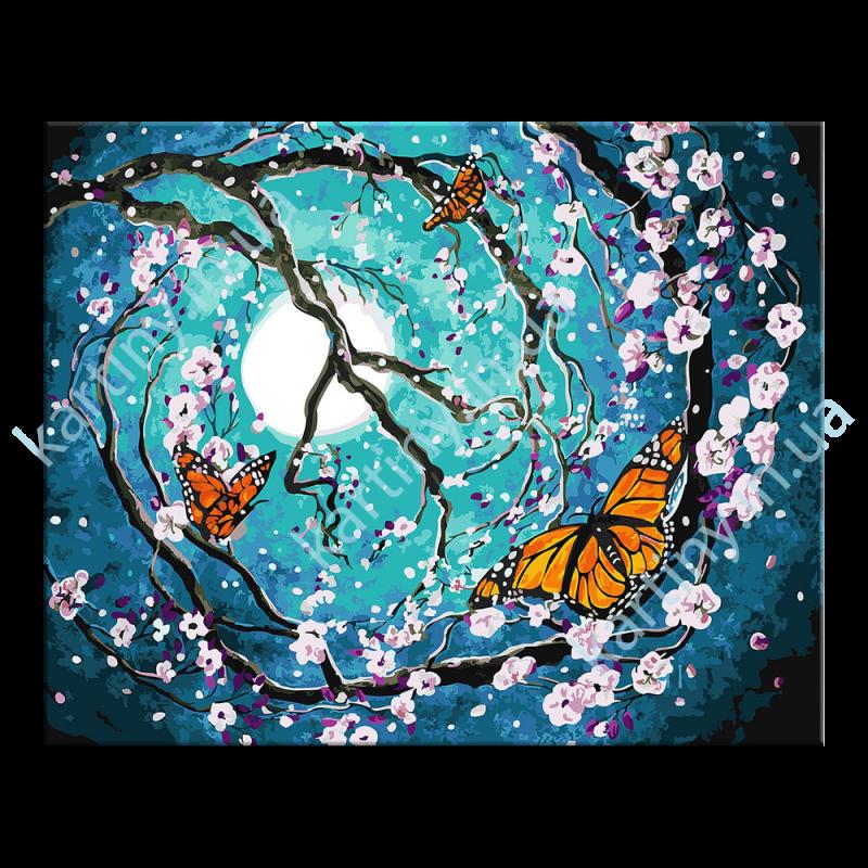 Картина по номерам Бабочки в лунном свете, 40х50см Rainbow ...
