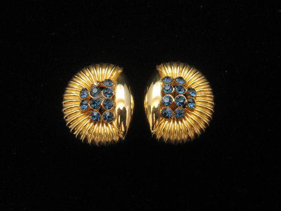 Vintage Blue Rhinestone Summer Earrings 1970s by mimisvintageshop, $7.00