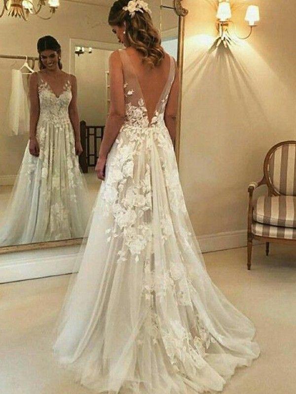 A-Linie V-Ausschnitt Ärmellos Sweep/Pinsel Zug Applikation Tülle Brautkleider – fashion beauty