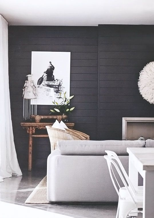 Painted Paneling Living Room: Black Painted Beadboard Paneling, Contrast Light Floors