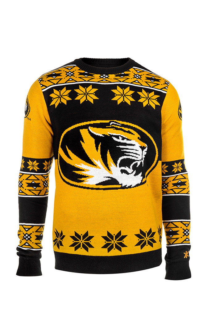 bc163aef0 Missouri Tigers Mens Black Big Logo Long Sleeve Sweater, Black, 100%  ACRYLIC, Size 2XL