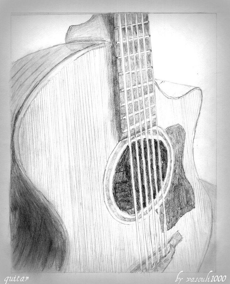 Guitar Drawing By Vasouli1000 Dengan Gambar Sketsa Seni Drawing
