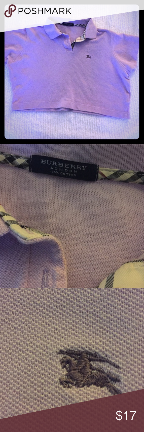 Burberry CROPPED polo style top Small Burberry CROPPED polo style top.  100% cotton lavender and worn once.   Signature Burberry plaid trim along the collar. Burberry Tops Crop Tops