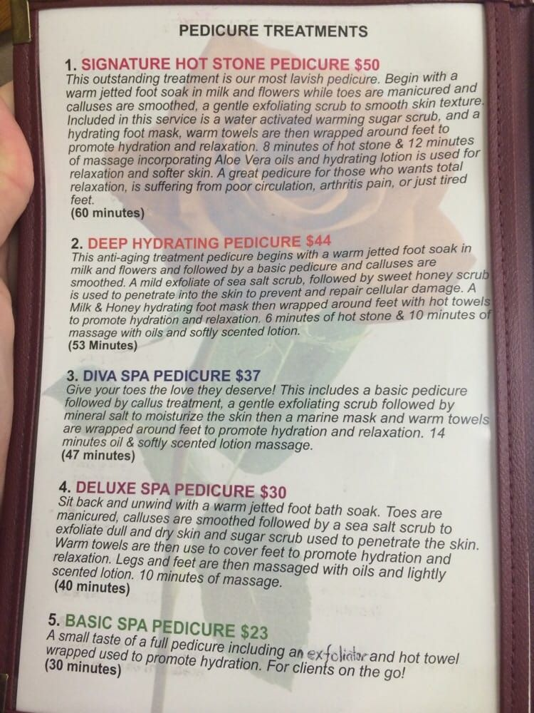 Diva Nail Spa Pedicure Menu And Price List Yelp Diva Nails York