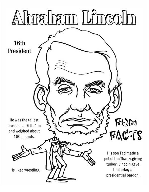 Abraham Lincoln Abraham Lincoln Fun Facts Coloring Page Abraham