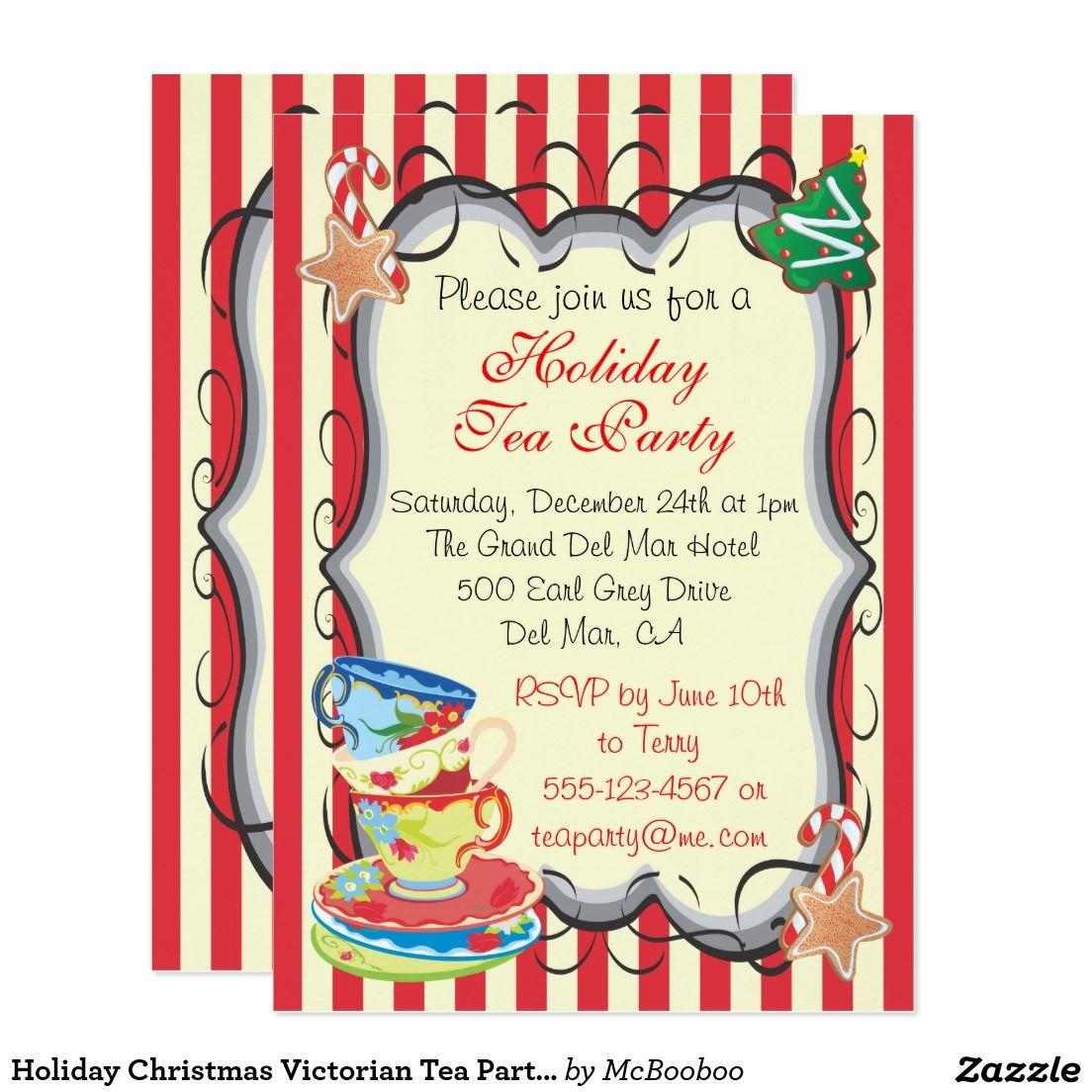 Holiday Christmas Victorian Tea Party Invitation   Tea Party ...