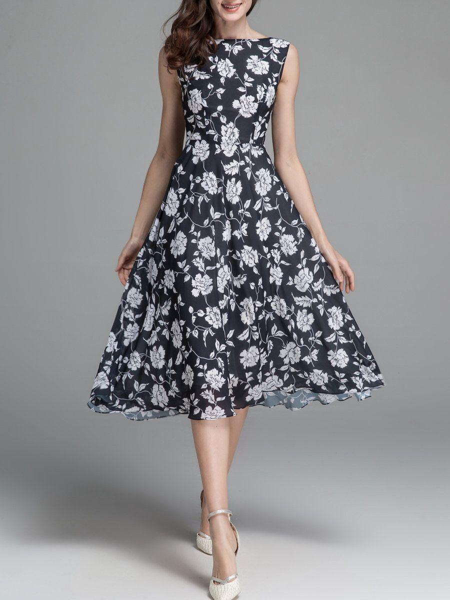 7d9270b76d3430 Black Sleeveless Floral-print Swing Bateau Boat Neck Sweet Midi Dress -  AdoreWe.com