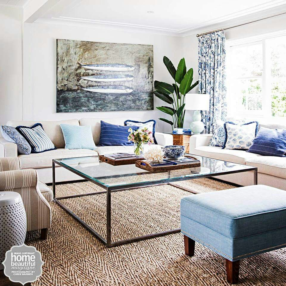 Calming beachy lounge room From Australian Home Beautiful magazine ...