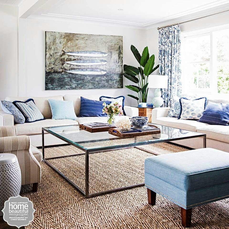 Calming beachy lounge room From Australian Home Beautiful magazine ...