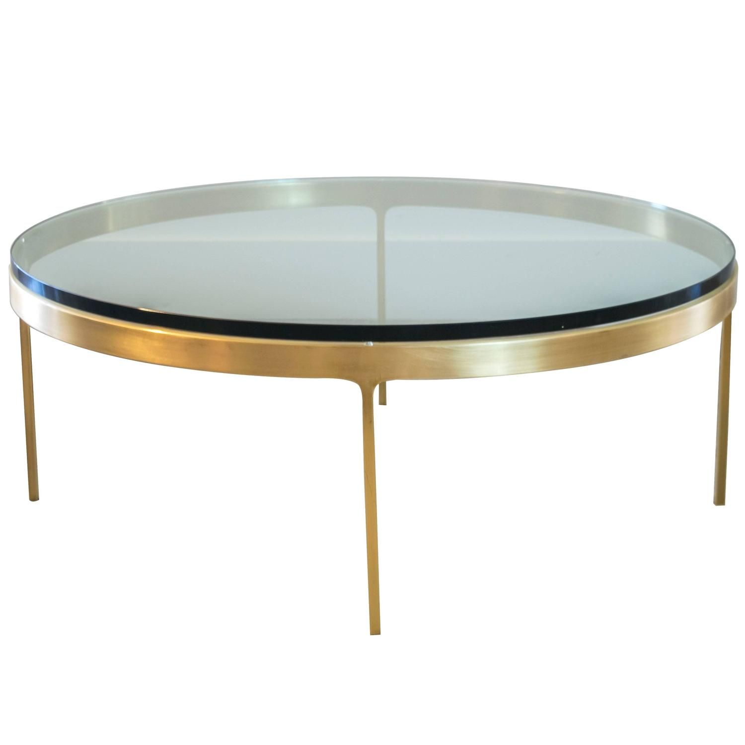 Attractive Solid Brass Round Coffee Table By Nicos Zographos
