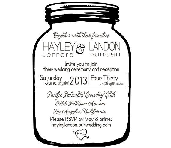 Mason Jar Wedding invitation Rubber Stamp. This Shop is great- cute and inexpensive!