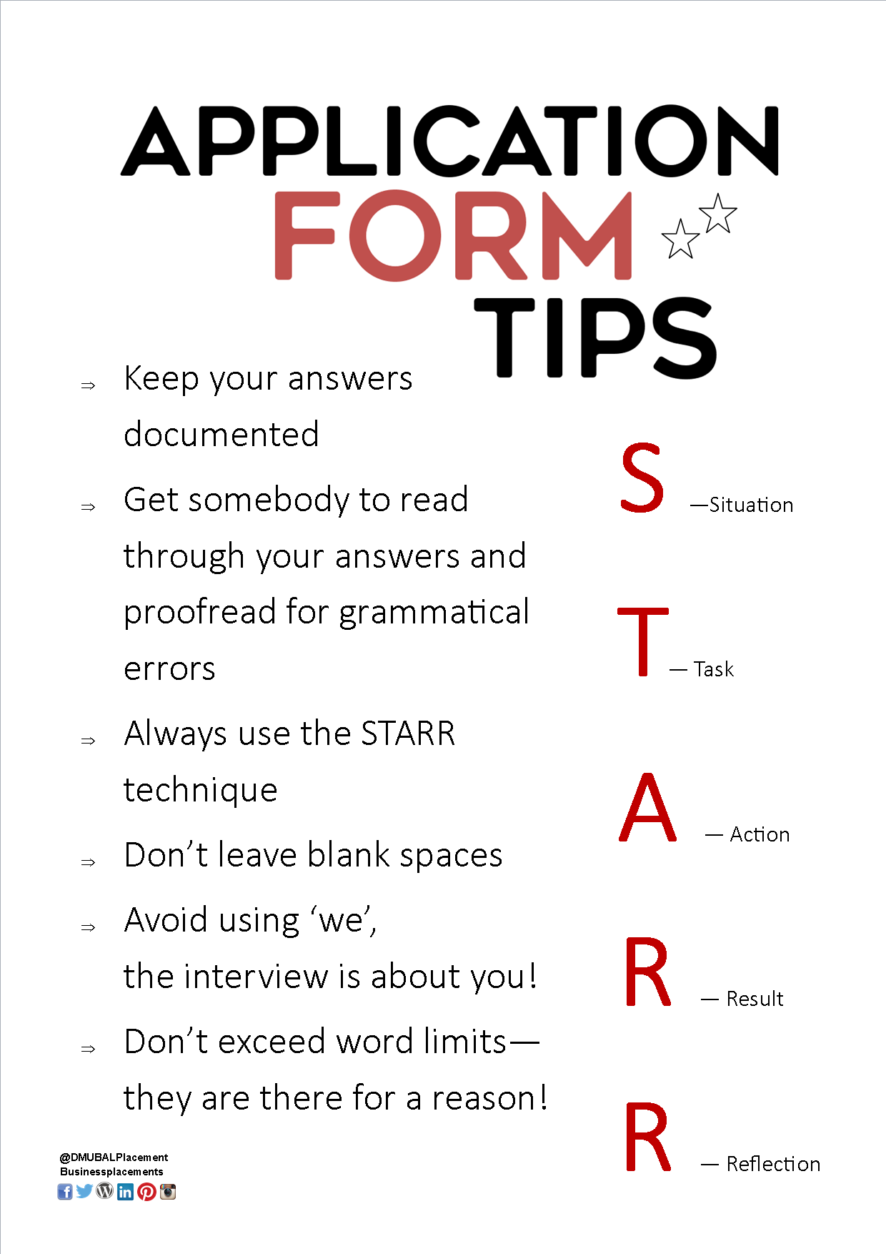 Application Form Tips From Dmu S Placement Team In