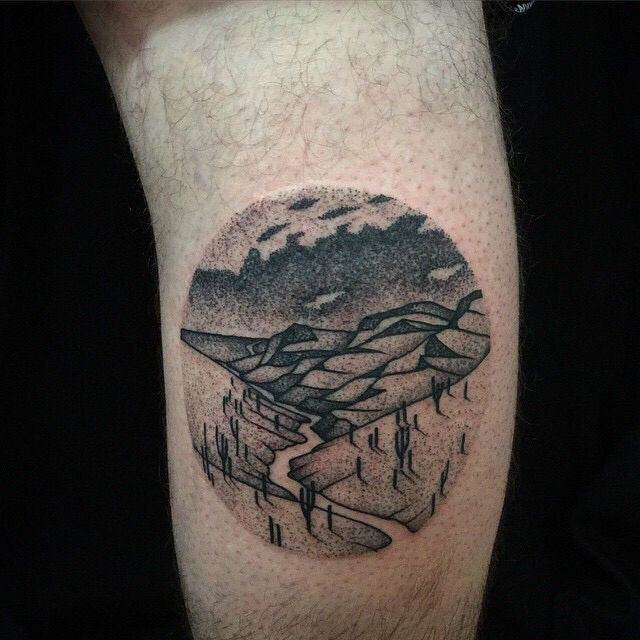 Desert Landscape By Richard Warnock At Two Hands Tattoo Auckland Nz Landscape Tattoo Tattoos Woodcut Tattoo