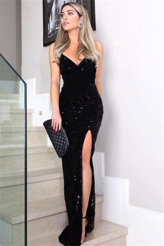 Meerjungfrau mit V-Ausschnitt Spaghetti-Trägern Split schwarz Pailletten lange Ballkleider, Sexy Abendkleider #eveningdresses