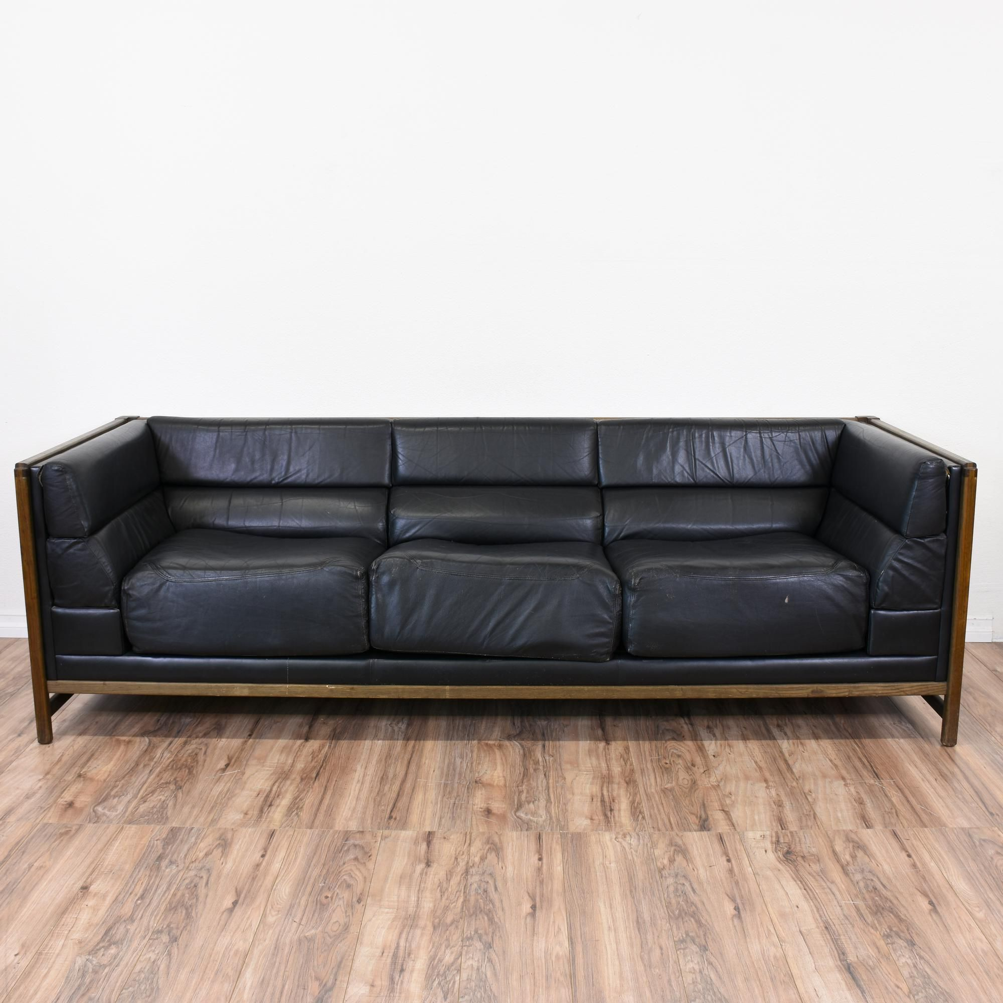 Mid Century Modern Black Leather Sofa