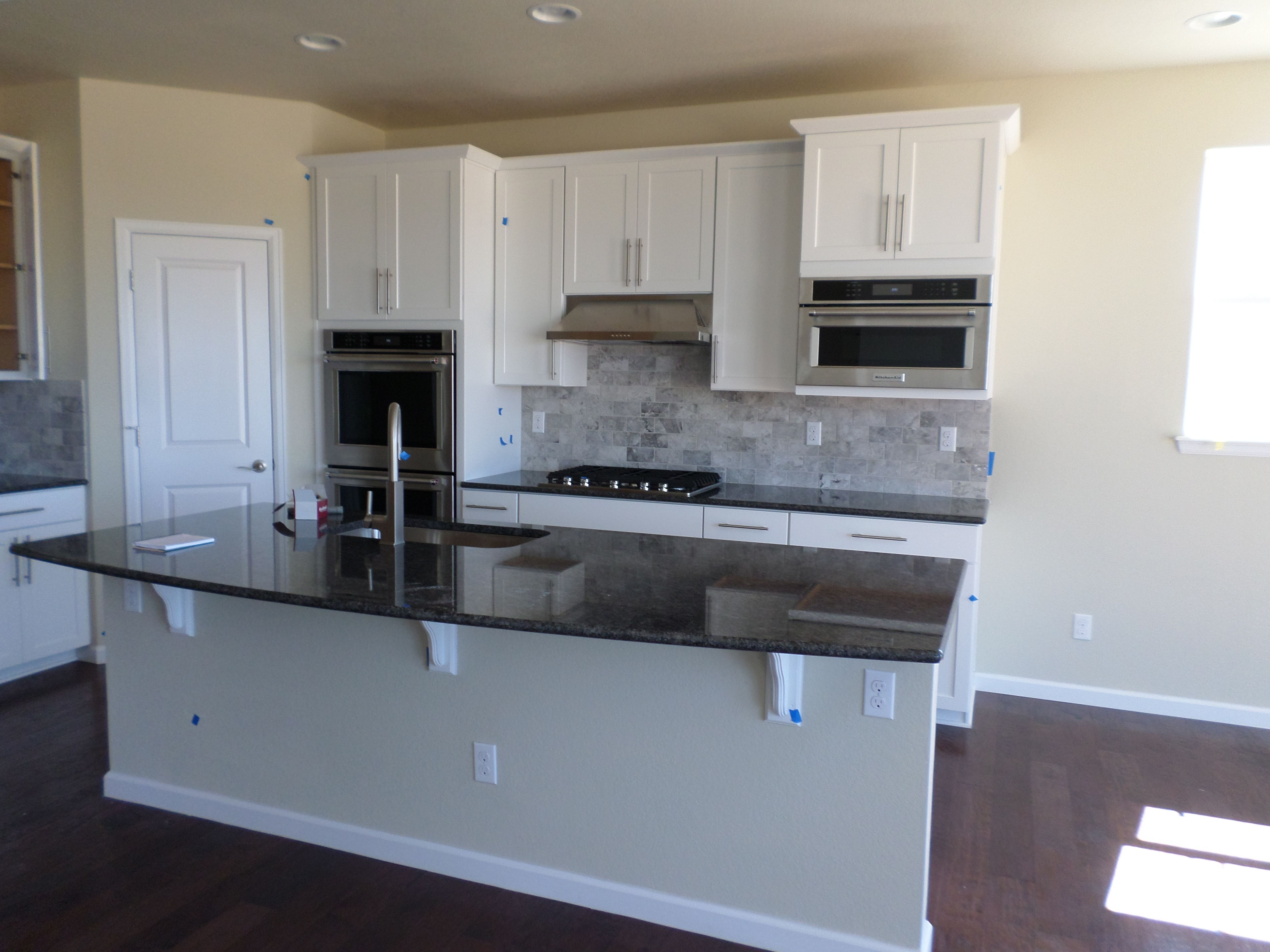 Timberlake Sonoma Painted Linen Cabinets Silver Pearl Granite Slab