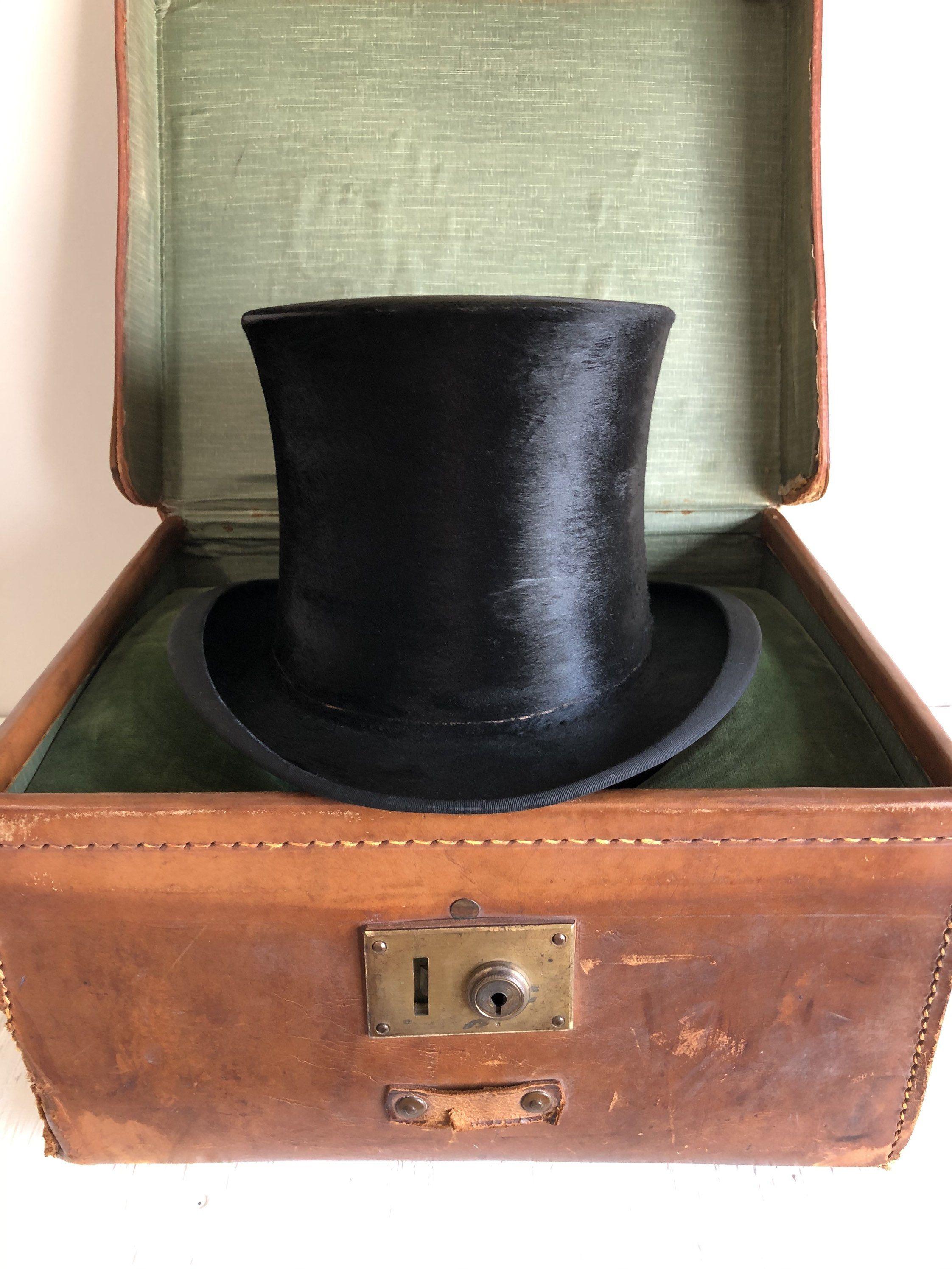 Antique Travel Case With Top Hat Vintage Hats Black Beaver Etsy Vintage Wedding Accessories Hats Vintage Tall Hat