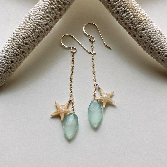 Long Aqua Dangle Earrings Real Starfish Chalcedony Drops