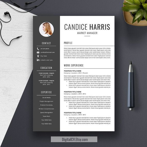 Introducing CANDICE, a creative and clean resume template with - references template for resume