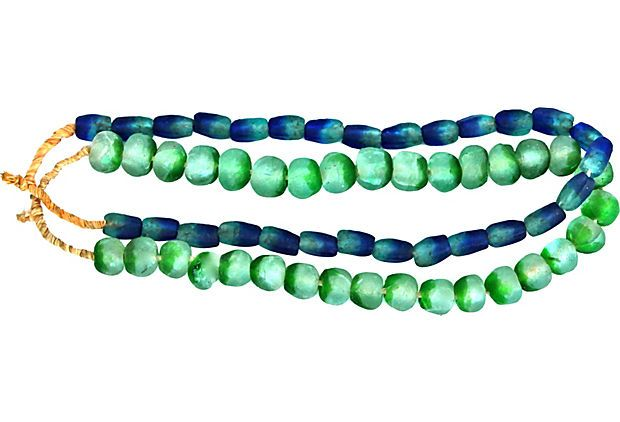 Green & Blue African Glass Beads