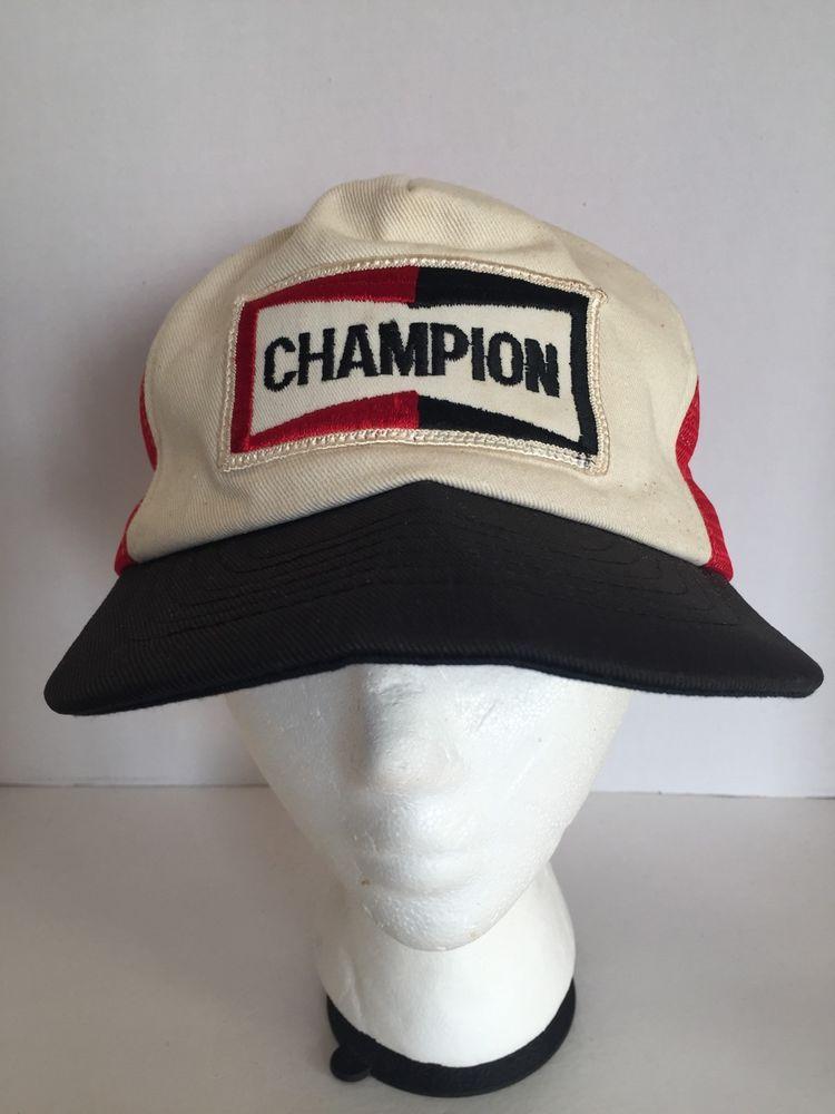 Vintage Champion Spark Plug SnapBack Mesh Trucker Hat Cap