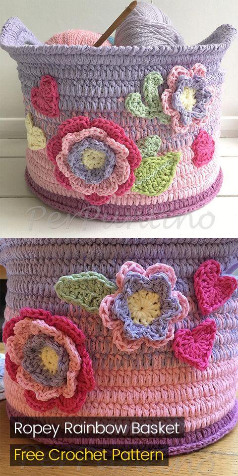 Ropey Rainbow Basket Free Crochet Pattern Crafts Homedecor Handmade Homemade Style Ideas Also Rh