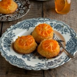 Clementine upside down cakes with a citrus syrup.