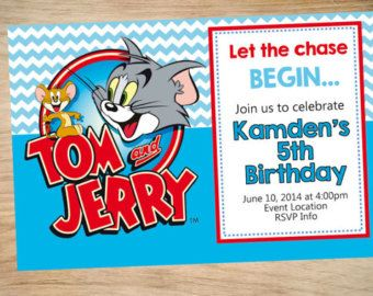 Tom And Jerry Birthday Invitation By Partyboxinvites