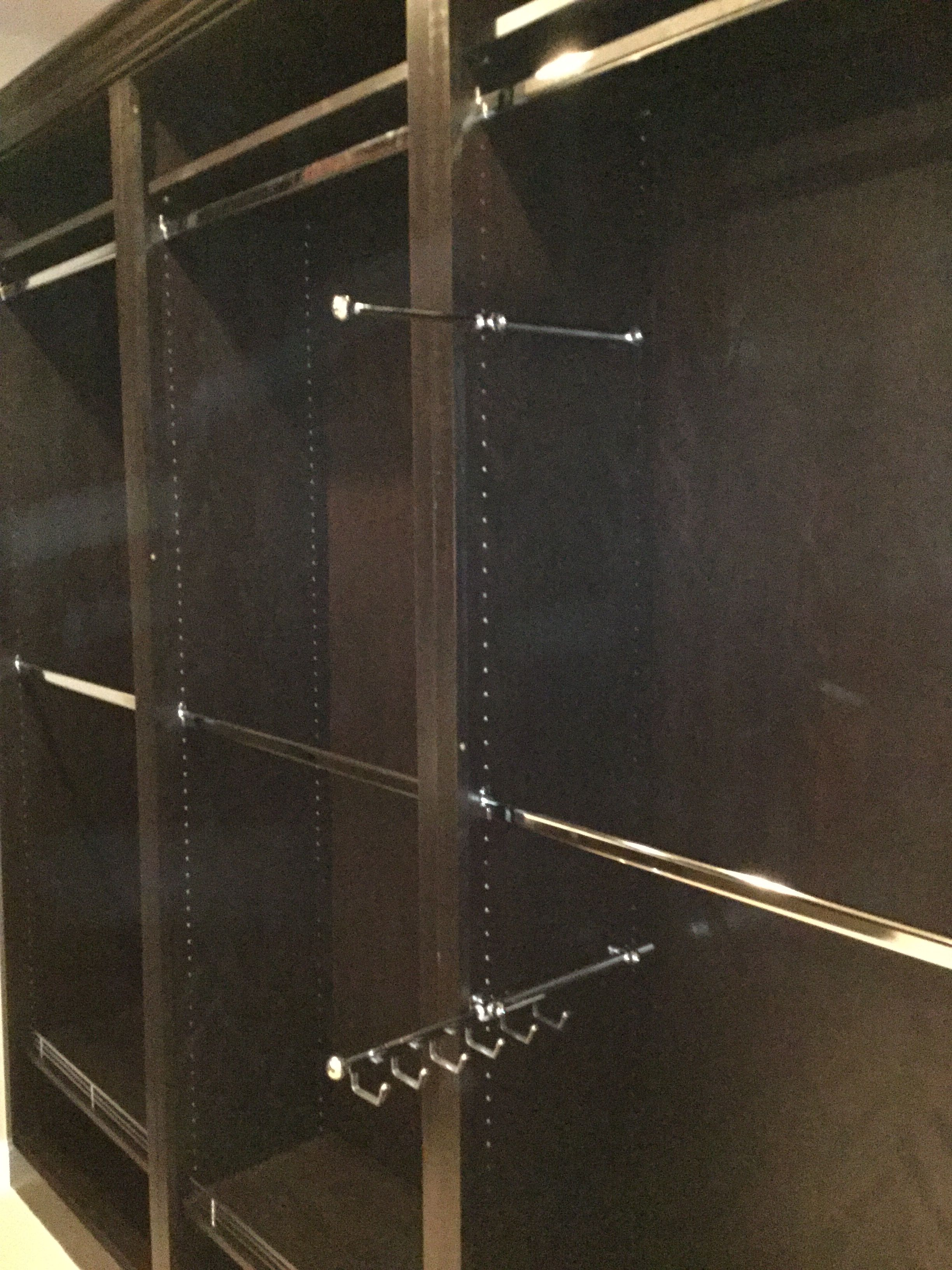 Chrome Pull Out Tie Holder, Belt Holder, And Valet. All Shelving, And